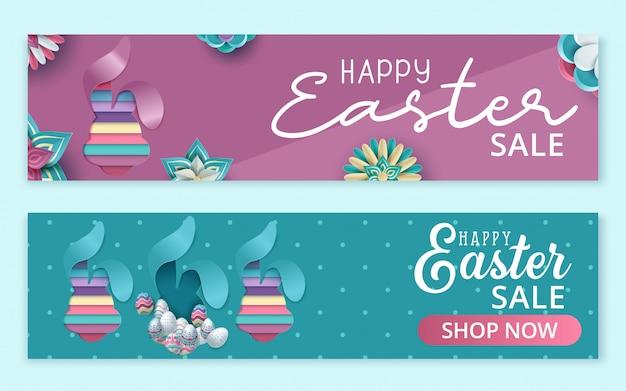 Wielkanocny sztandar sprzedaż z pięknymi kolorowymi jajkami.