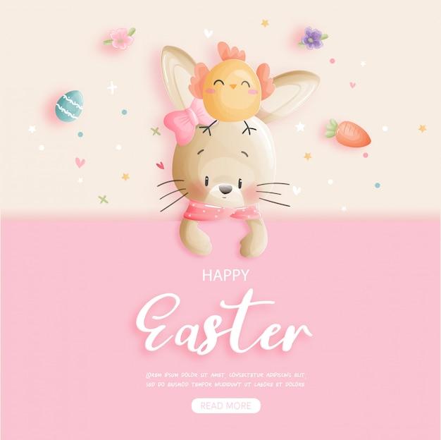 Wielkanocny sztandar z ślicznym królikiem i wielkanocnymi jajkami.