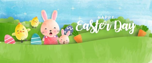 Wielkanocny sztandar z uroczymi kurczakami, królikiem i pisankami w stylu akwareli.