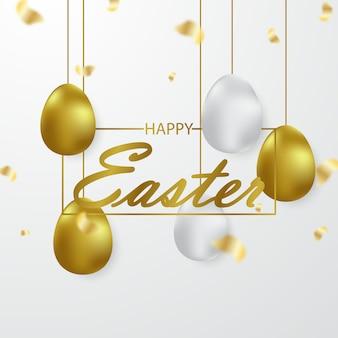 Wielkanocny tło projektujący z 3d złotymi jajkami