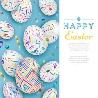 Wielkanocny tło z 3d ozdobnymi jajkami na błękicie z listami. śliczny wektorowy easter sztandar lub kartka z pozdrowieniami