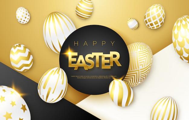 Wielkanocny tło z dekorującymi jajkami