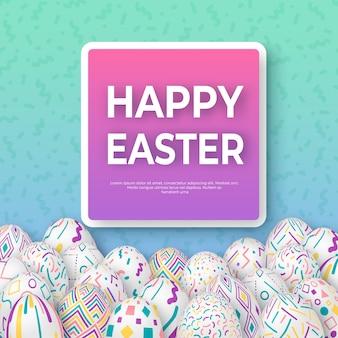 Wielkanocny tło z jajkami z kwadratową ramą
