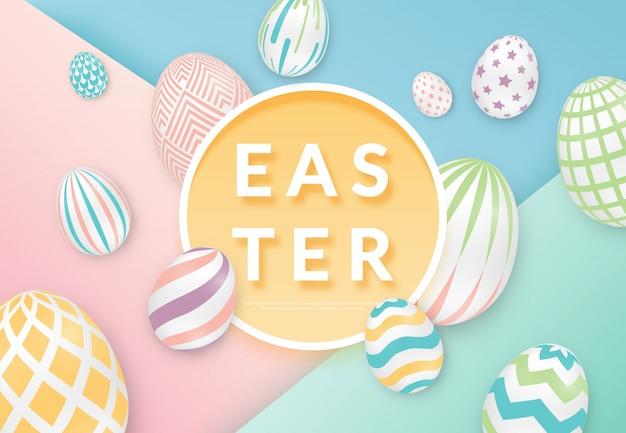 Wielkanocny tło z jajkami z okrąg ramą