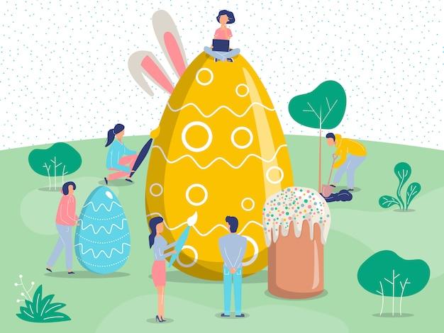 Wielkanocny tło z ludźmi