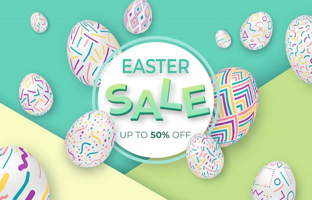 Wielkanocny tło z ozdobnymi jajkami