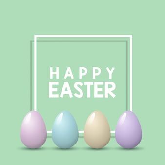 Wielkanocny tło z pastelowymi jajkami na biel ramie