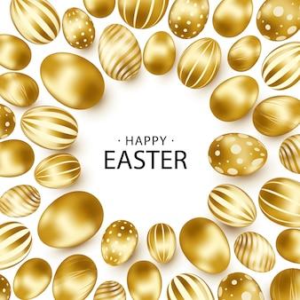 Wielkanocny tło z realistycznymi złotymi jajkami