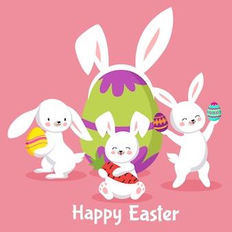 Wielkanocny tło z ślicznymi kreskówka królikami i jajkami