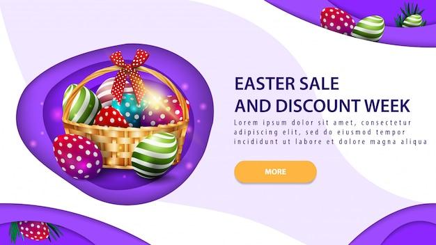 Wielkanocny tydzień sprzedaży i rabatu, nowoczesny fioletowy poziome zniżki transparent