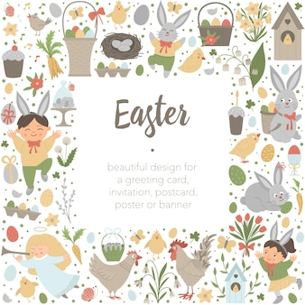 Wielkanocny układ kwadratowy obramowanie ramki z królika, jaja i szczęśliwe dzieci na białym tle. chrześcijański baner świąteczny lub zaproszenie z miejscem na tekst. ładny szablon karty wiosna.