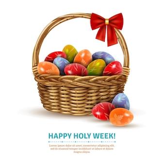 Wielkanocny wiklinowy koszyk realistyczny obraz