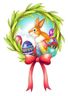 Wielkanocny wystrój ze wstążką