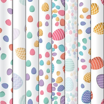 Wielkanocny wzór. kolorowe jajka z geometrycznymi wzorami mogą służyć jako tapeta do pakowania papieru.