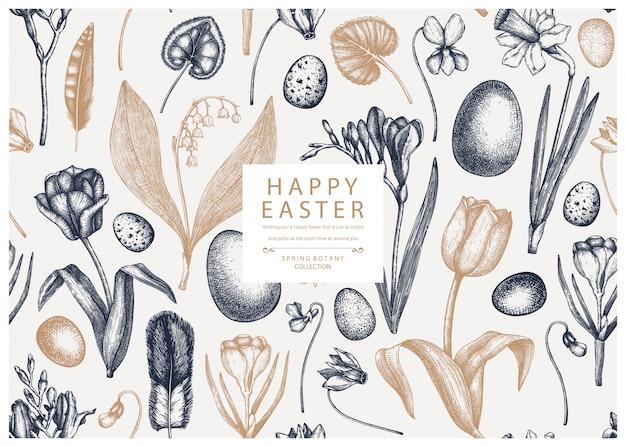 Wielkanocny wzór. wiosenne kwiaty, ptasie pióra, jajka i kwiatowe elementy. ręcznie rysowane ilustracje botaniczne. wielkanocne zaproszenie lub szablon karty z pozdrowieniami.