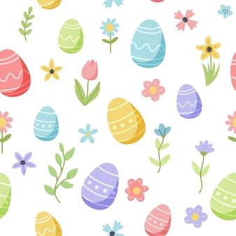 Wielkanocny wzór wiosna z uroczymi jajkami i kwiatami. ręcznie rysowane elementy kreskówka płaskie.