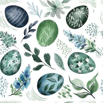 Wielkanocny wzór z jajkami i kwiatowymi elementami