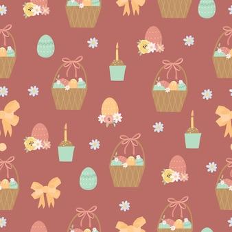 Wielkanocny wzór z koszem i ciasto wielkanocne