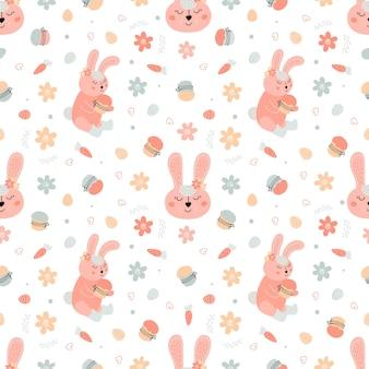 Wielkanocny wzór z królikami, ciastami, jajkami, wierzbą