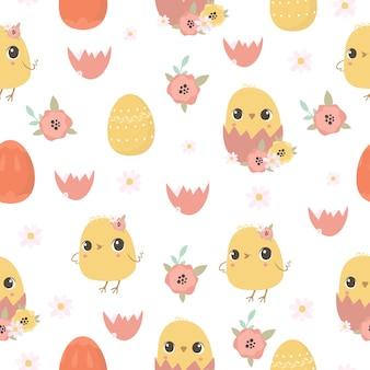 Wielkanocny wzór z kurczakami