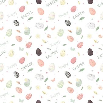 Wielkanocny wzór z kwiatami i wakacyjnymi jajami.