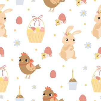 Wielkanocny wzór ze zwierzętami