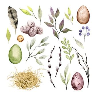 Wielkanocny zestaw clipartów z jajkami, piórami i elementami zieleni. ręcznie rysowane akwarela ilustracja.