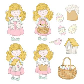 Wielkanocny zestaw dziewczyna postacie wakacje wektor