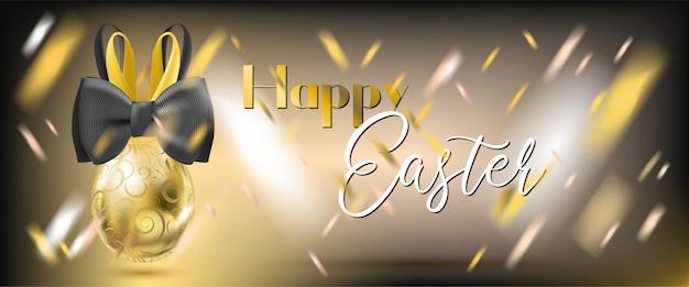 Wielkanocny złoty jajko z królika confetti i łękiem