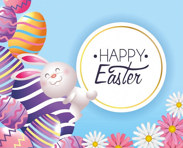 Wielkanocnych jajek dekoracja z królikiem i etykietką