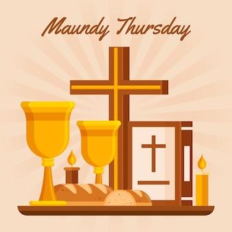 Wielki czwartek ilustracja z winem i chlebem