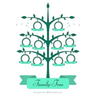 Wielki drzewo genealogiczne w odcieniach zieleni