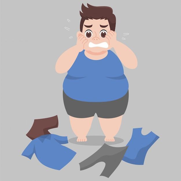 Wielki grubas nie może nosić ubrania, ponieważ jest zbyt gruba