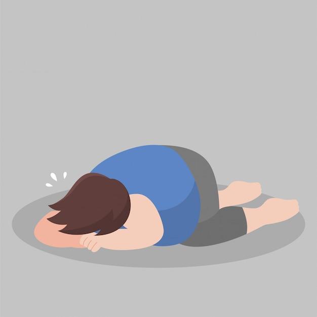 Wielki grubas płacze nad wyglądem swojego ciała