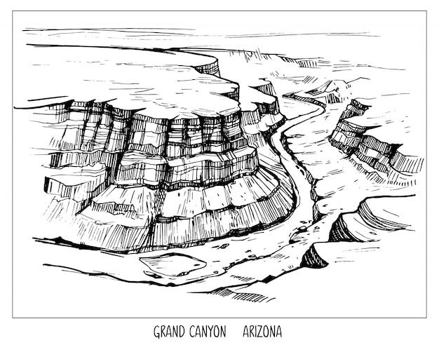 Wielki kanion. krajobraz z usa. ręcznie rysowane tuszem szkic. kształt na białym tle z przezroczystym tłem