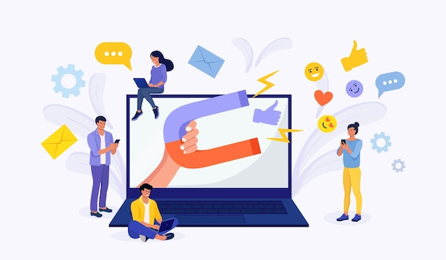 Wielki magnes przyciąga lajki, dobre recenzje, oceny, obserwujących. influencer społeczny. treści medialne, aby uzyskać informacje zwrotne od publiczności. generowanie leadów. analiza satysfakcji i lojalności. przyciąganie klientów