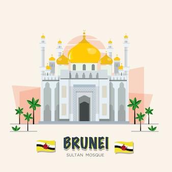 Wielki meczet. punkt orientacyjny w brunei. zestaw asean.