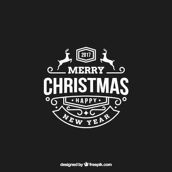Wielki merry christmas etykieta z jeleni