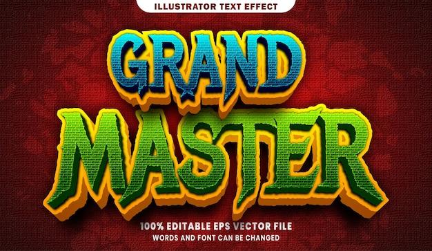 Wielki mistrz 3d efekt edytowalnego stylu tekstu