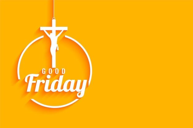 Wielki piątek żółty z krzyżem ukrzyżowania jezusa chrystusa