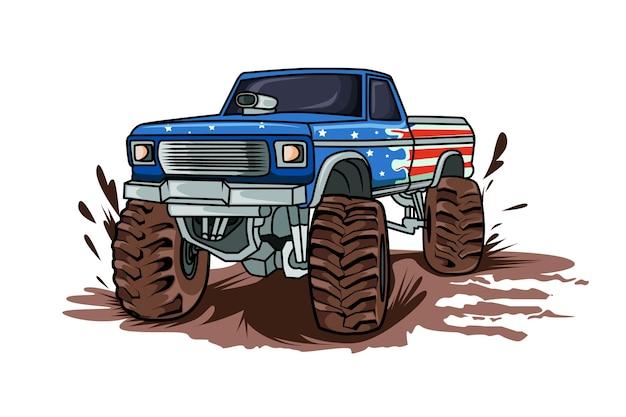 Wielki potwór off road samochód wektor rysunek ręka wektor