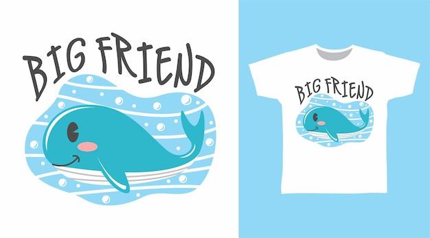 Wielki przyjaciel wieloryb na projekt koszulki