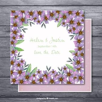 Wielki wieczór zaproszenie z fioletowymi kwiatami
