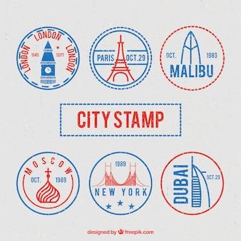 Wielki wybór okrągłych znaczków miasta