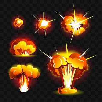 Wielki wybuch - nowoczesny wektor realistyczne na białym tle clipart na przezroczystym tle. płonące pomarańczowe, żółte, czerwone ognie o różnych kształtach. pojęcie energii, niebezpieczeństwa, mocy, zniszczenia, klęski żywiołowej