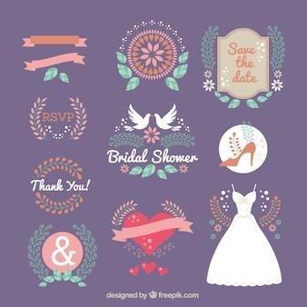 Wielki zbiór płaskich ozdoby ślubne