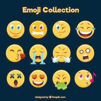 Wielki zbiór zabawnych emotikonów w płaskiej konstrukcji