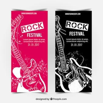 Wielkie banery z rysowane ręcznie gitary