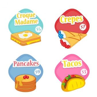 Wielkie etykiety z różnych produktów spożywczych