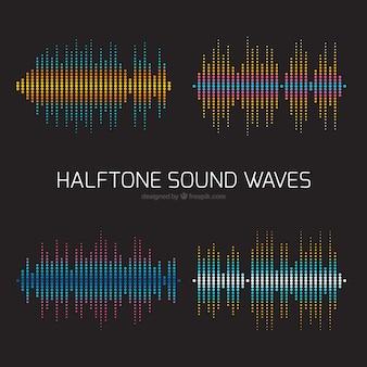 Wielkie fale dźwiękowe o różnych kolorach półtonów